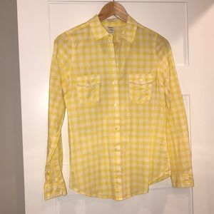 Women's old navy yellow plaid button down shirt